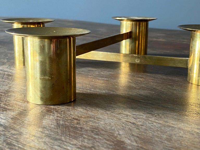 Sigurd Persson, Modular Candlesticks / Candelabras, Brass, Signed, Sweden, 1950s For Sale 1