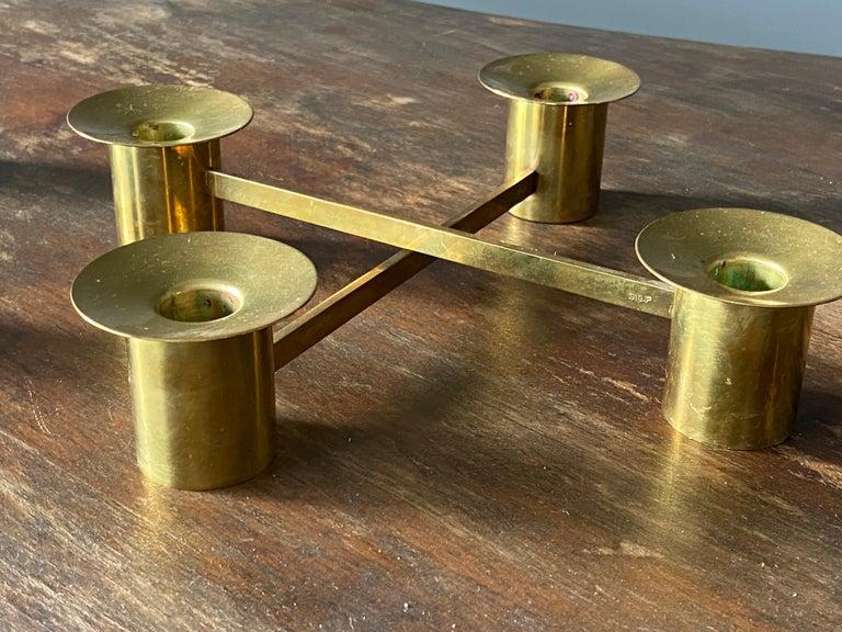 Sigurd Persson, Modular Candlesticks / Candelabras, Brass, Signed, Sweden, 1950s For Sale 3