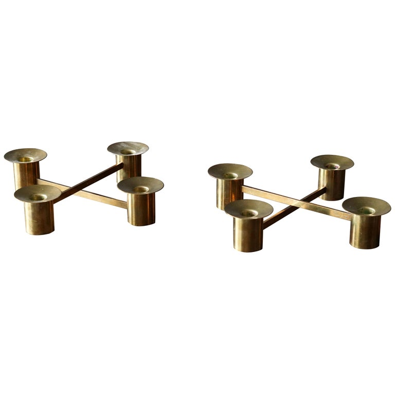 Sigurd Persson, Modular Candlesticks / Candelabras, Brass, Signed, Sweden, 1950s For Sale