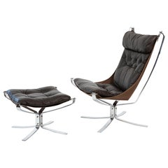 Sigurd Resell Chrome and Leather Falcon Chair Ottoman