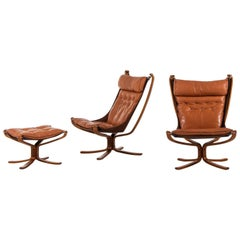 Sigurd Resell Easy Chairs and Stool Model Falcon by Vatne Möbler in Norway