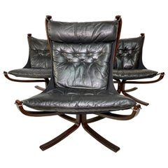 Sigurd Ressel Falcon Leather Lounge Chairs Set by Vatne Mobler, Set of 3