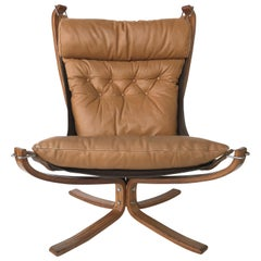 Sigurd Ressell Danish Modern Falcon Chair for Vatne Mobler in Teak and Leather