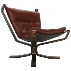 Sigurd Ressell Falcon Brown Leather Lounge Chair for Vatne Møbler, 1970, Norway