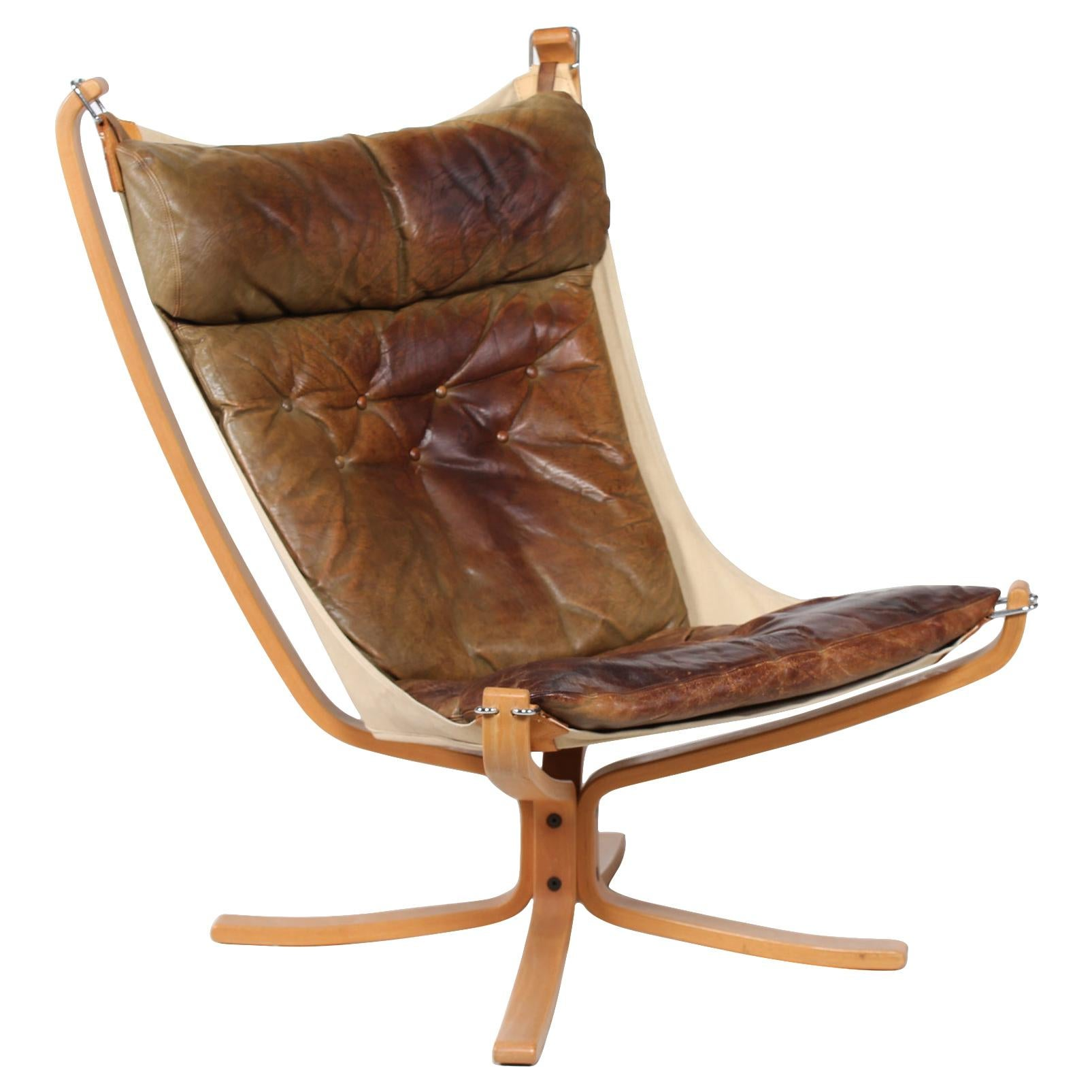 Sigurd Ressell Falcon Chair with Brown Leather Cushions by Vatne Møbler Norway