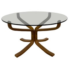 Sigurd Ressell Falcon Coffee Table with Round Smoked Glass Top for Vatne Møbler