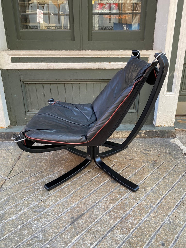 Late 20th Century Sigurd Ressell Falcon Leather lounge Chair For Sale