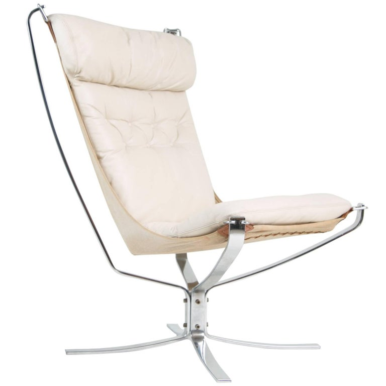 Sigurd Ressell for Vatne Møbler High Back Chrome and White Leather Falcon Chair