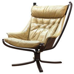 Sigurd Ressell for Vatne 'Viking' Scandinavian Modern Lounge Chair in Leather