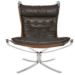 Sigurd Ressell Leather and Chrome Falcon Chair