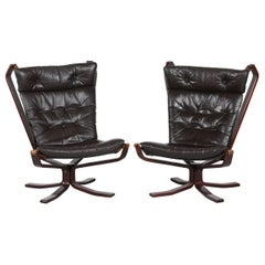Sigurd Ressell Two Falcon Chairs with Leather Cushions by Vatne Møbler Norway