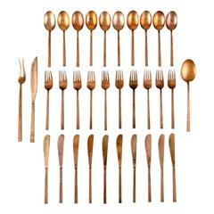 Sigvard Bernadotte 'Scanline' Brass Cutlery, Complete Dinner Service for 10 P.