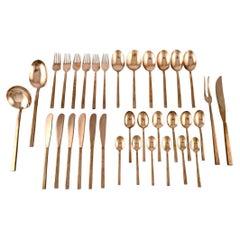 Sigvard Bernadotte 'Scanline' Brass Cutlery, Complete Dinner Service for Six P