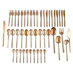 Sigvard Bernadotte 'Scanline' Brass Cutlery, Dinner Service for 10 People