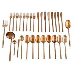 Sigvard Bernadotte 'Scanline' Brass Cutlery, Dinner Service for Eight People