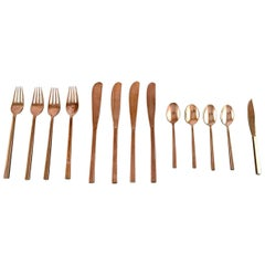 Sigvard Bernadotte 'Scanline' Cutlery in Brass Complete for 4 P
