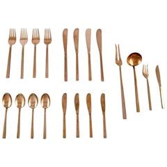 Sigvard Bernadotte 'Scanline' Cutlery in Brass Complete for 4 Persons