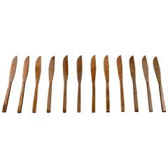 Sigvard Bernadotte 'Scanline' Cutlery in Brass, Set of Twelve Fruit Knives