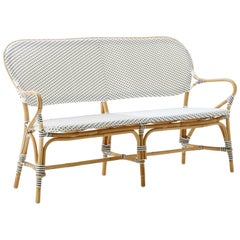 Sika Design Isabell Rattan Bistro Bench in White with Cappuccino Dots