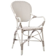 Sika Design Isabell Rattan Outdoor Bistro Armchair in White w/ Cappuccino Dots