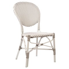 Sika Design Isabell Rattan Outdoor Bistro Side Chair in White w/ Cappuccino Dots