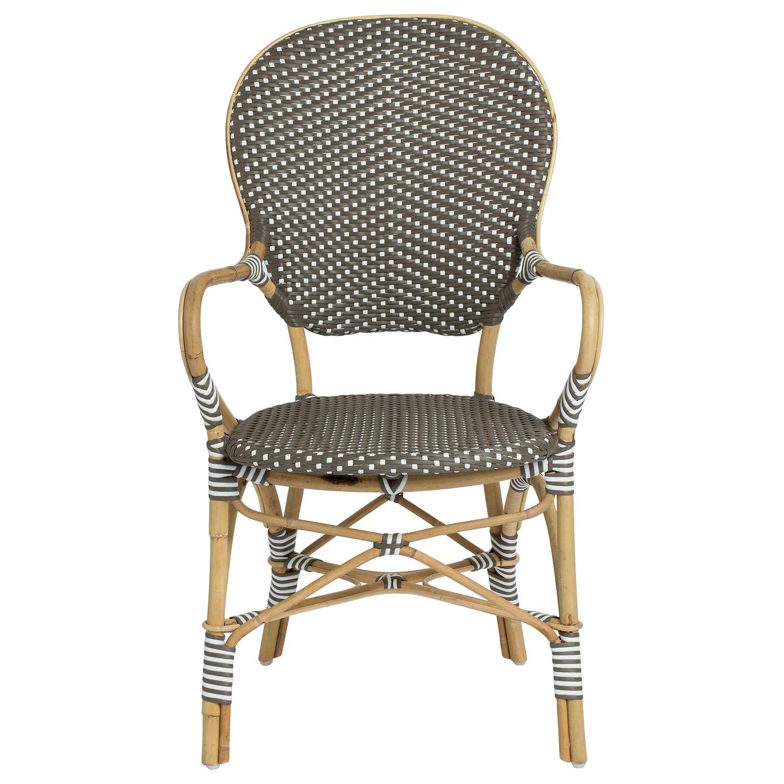 Sika Design Isabell Woven Rattan Bistro Armchair in Cappuccino with White Dots
