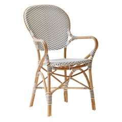 Sika Design Isabell Woven Rattan Bistro Armchair in White with Cappuccino Dots