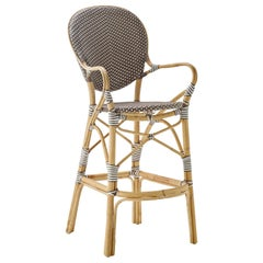 Sika Design Isabell Woven Rattan Bistro Bar Stool in Cappuccino with White Dots