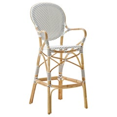 Sika Design Isabell Woven Rattan Bistro Bar Stool in White with Cappuccino Dots