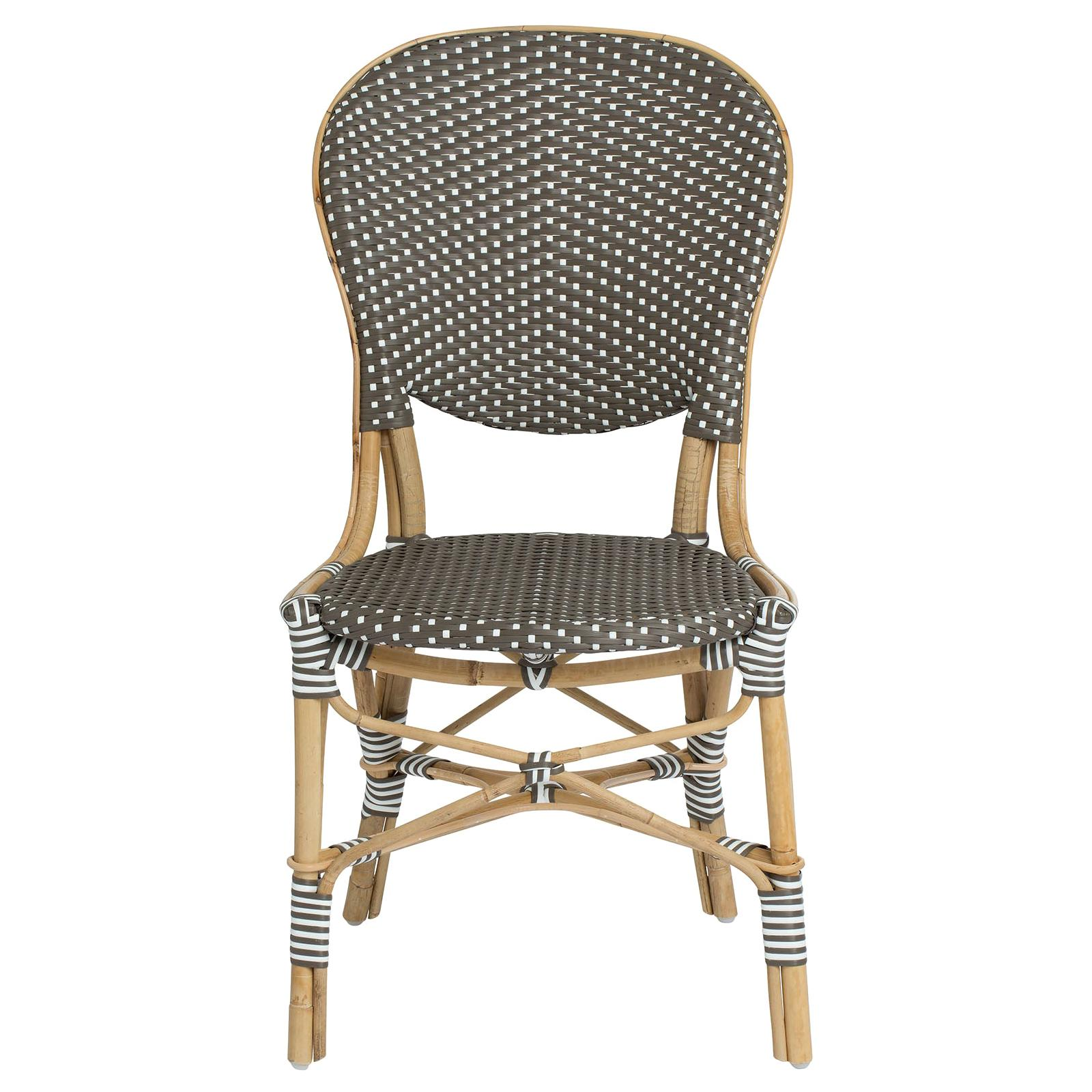 Sika Design Isabell Woven Rattan Bistro Side Chair in Cappuccino with White Dots