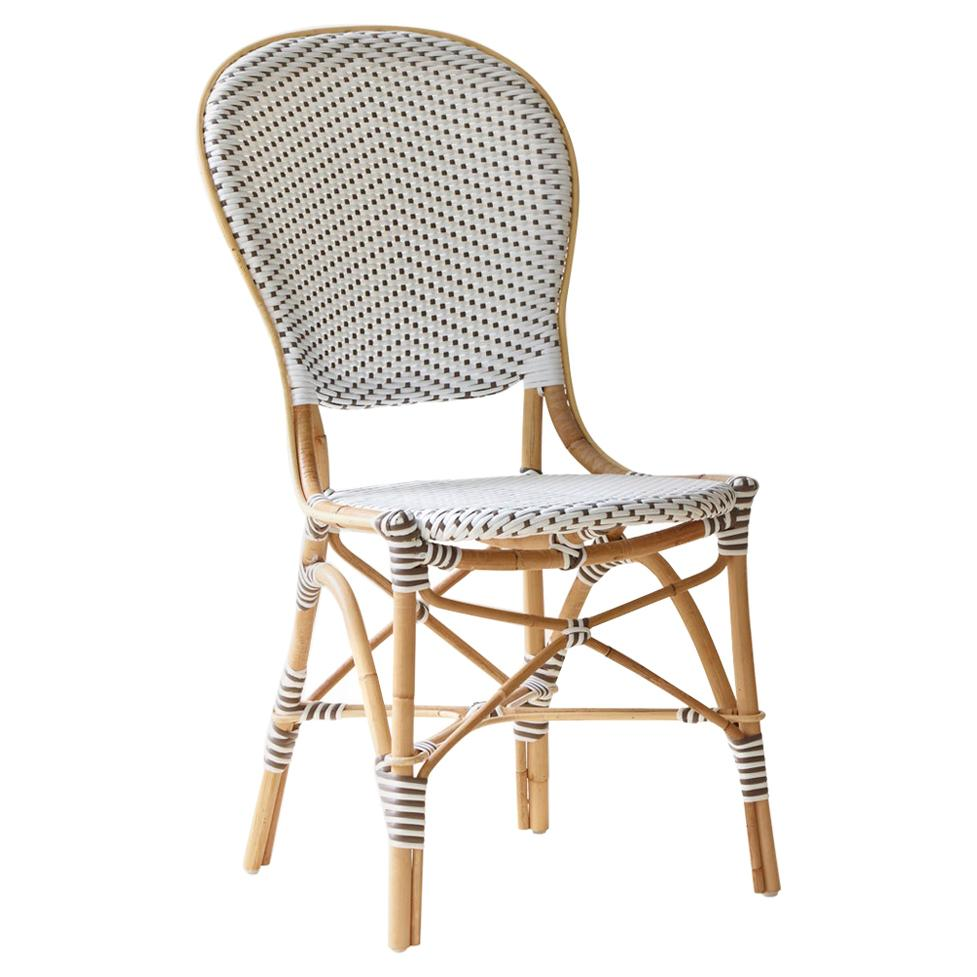 Sika Design Isabell Woven Rattan Bistro Side Chair in White with Cappuccino Dots