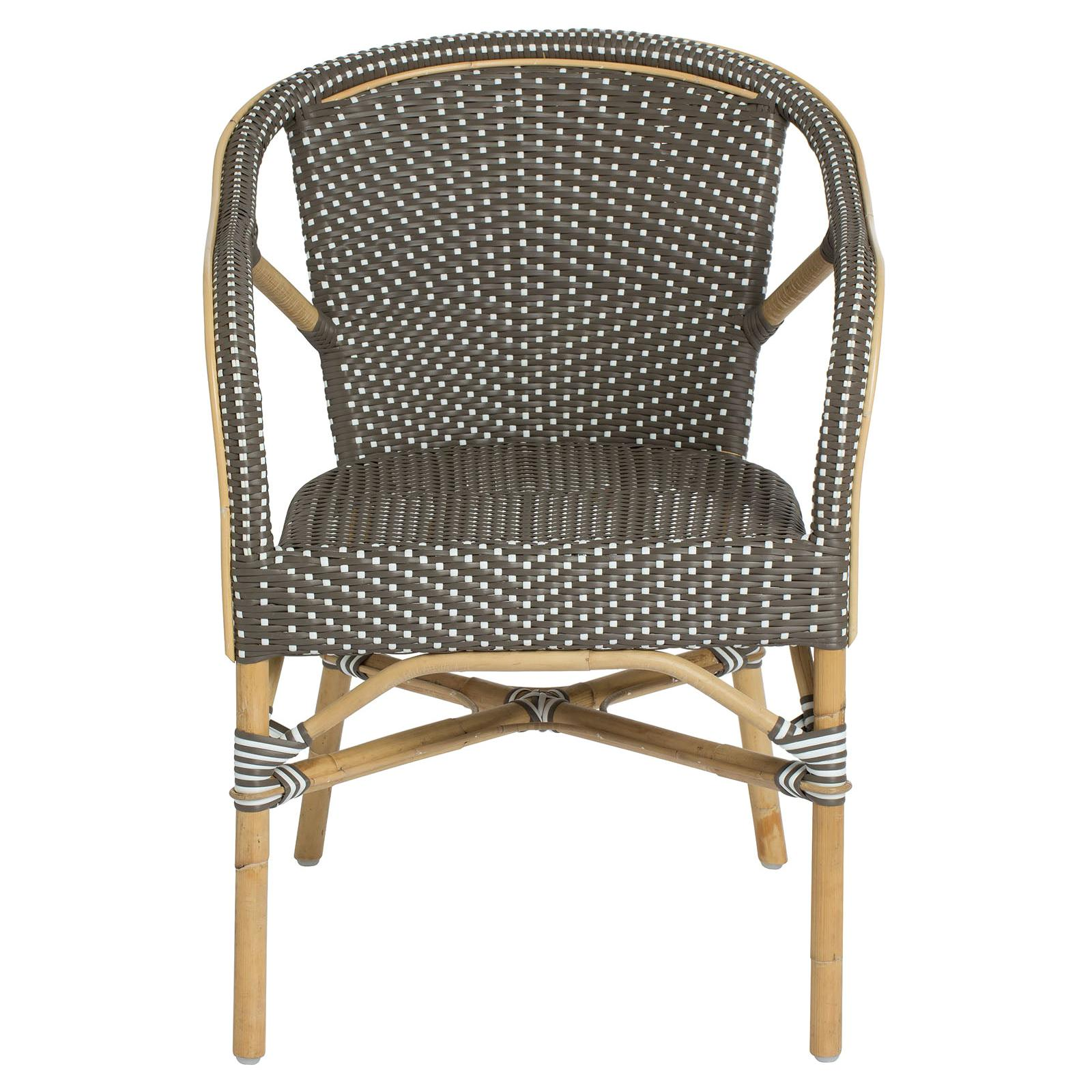 Sika Design Madeleine Woven Rattan Bistro Armchair in Cappuccino with White Dots