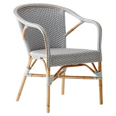 Sika Design Madeleine Woven Rattan Bistro Armchair in Grey with White Dots