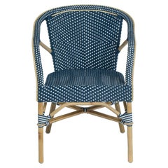 Sika Design Madeleine Woven Rattan Bistro Armchair in Navy with White Dots