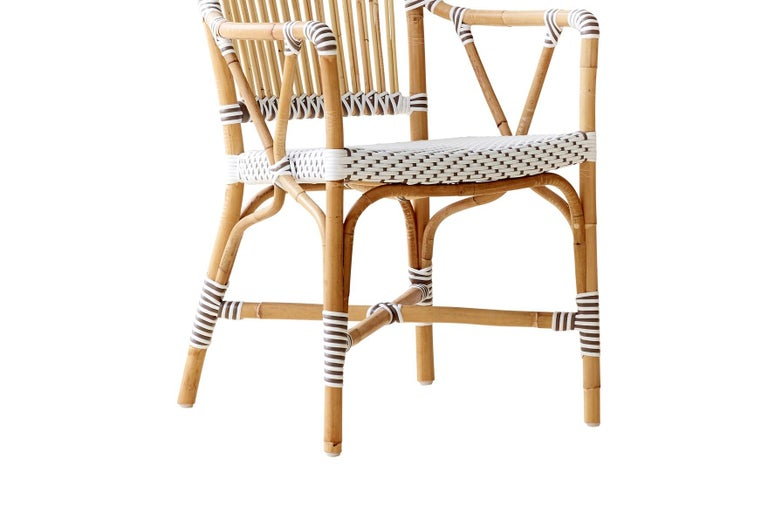 Modern Sika Design Monique Woven Rattan Bistro Arm chair in White with Cappuccino Dots For Sale