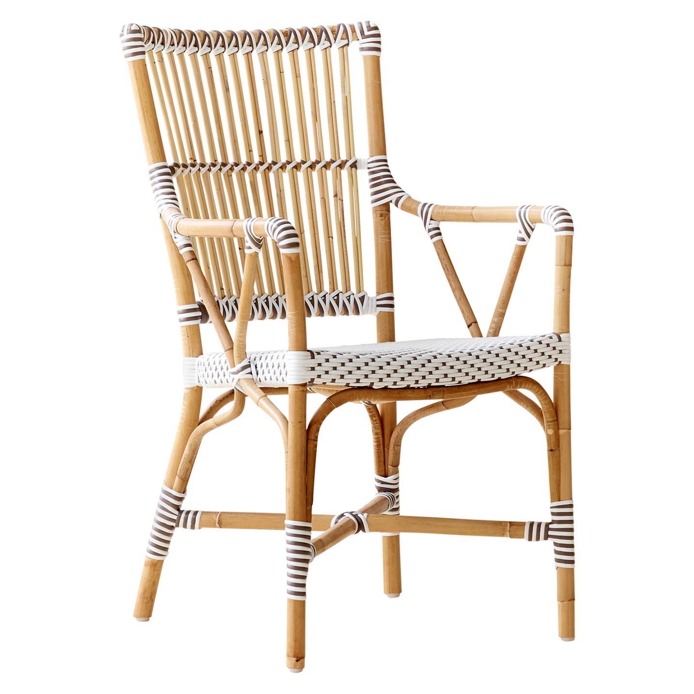 Sika Design Monique Woven Rattan Bistro Arm chair in White with Cappuccino Dots