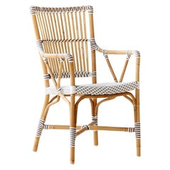 Sika Design Monique Woven Rattan Bistro Arm chair in White with Cappuccino Dots