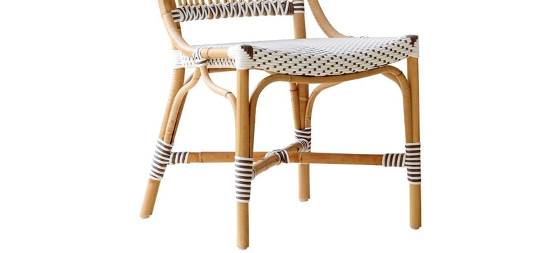 Modern Sika Design Monique Woven Rattan Bistro Side Chair in White with Cappuccino Dots For Sale
