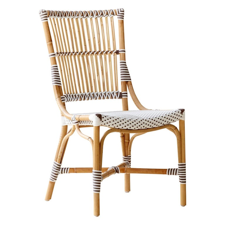 Sika Design Monique Woven Rattan Bistro Side Chair in White with Cappuccino Dots For Sale