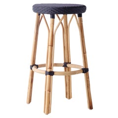 Sika Design Simone Woven Rattan Bistro Bar Stool in Black with Black Dots
