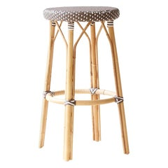 Sika Design Simone Woven Rattan Bistro Bar Stool in Cappuccino with White Dots