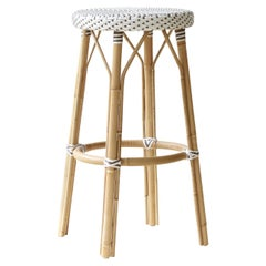 Sika Design Simone Woven Rattan Bistro Bar Stool in White with Cappuccino Dots