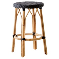 Sika Design Simone Woven Rattan Bistro Counter Stool in Black with Black Dots