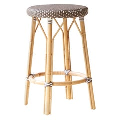 Sika Design Simone Woven Rattan Bistro Counter Stool in Cappuccino w/ White Dots