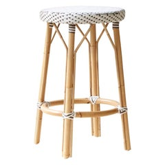 Sika Design Simone Woven Rattan Bistro Counter Stool in White w/ Cappuccino Dots