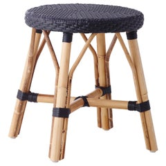 Sika Design Simone Woven Rattan Bistro Dining Stool in Black with Black Dots