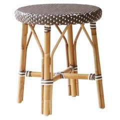 Sika Design Simone Woven Rattan Bistro Dining Stool in Cappuccino w/ White Dots