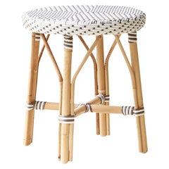 Sika Design Simone Woven Rattan Bistro Dining Stool in White w/ Cappuccino Dots