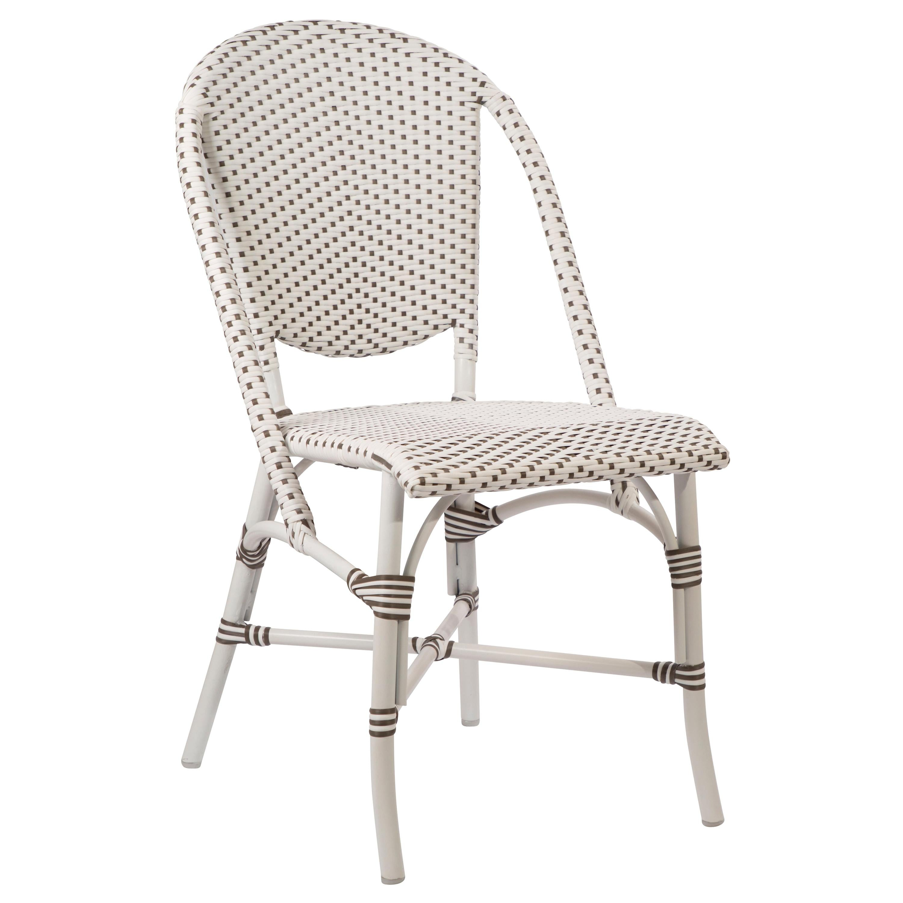 Sika Design Sofie Rattan Outdoor Bistro Side Chair in White with Cappuccino Dots