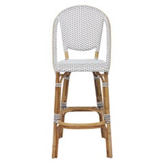Sika Design Sofie Woven Rattan Bistro Bar Stool in White with Cappuccino Dots